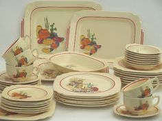 vintage Mexicana & Hacienda Homer Laughlin Mexican theme pottery dinnerware  Another pattern I collect along with vintage mexicana themed block print linens.  I must post a picture of a setting.