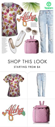 """""""Aloha pink flowers/Yizzam T-shirts and more"""" by helenevlacho ❤ liked on Polyvore featuring H&M, Loeffler Randall, Christian Dior, Anja and yizzam"""