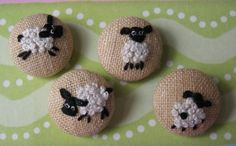 FOUR Hand Embroidered Sheep - Fabric Covered Buttons