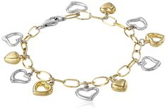 14k Gold-Bonded Sterling Silver Two-Tone Heart Charm Bracelet, 7' * Continue to the product at the image link. (This is an affiliate link and I receive a commission for the sales)