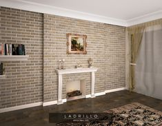 Brick effect feature wall with fireplace. Brick Tiles, Brick Wall, Blanco White, Brickwork, Drawing Room, Interior And Exterior, Classic Style, Indoor, Flooring