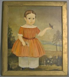 Art - Primitive - Portrait - by Jeanne Davies, American, 20th c.