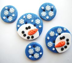 Snowy Night Snowman polymer clay buttons  5  by digitsdesigns, $7.00