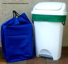 Reusable Recycling Can Liners / Washable Kitchen Trashcan Liners - Set of 2 You Can Choose Your Colors by moocowmomma on Etsy https://www.etsy.com/listing/88408095/reusable-recycling-can-liners-washable