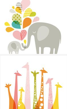 Elephant and giraffe landscape custom prints