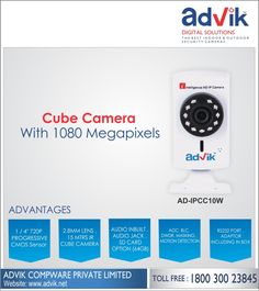 #CubeCamera with 1080 Megapixels !!! Advik's Cube Camera comes loaded with unbeatable features including 1/2.8' Sony CMOS sensor with 1080 pixel resolution. This coupled with 2.8mm lens and viewing angle of more than 90 degrees ensure you get clean and clear images. Further, an IR range of 10 metres, motion detection, alarm and audio jack for speakers ensure this camera is an ever reliable and efficient security partner. The RS232 protocol is ideal for faster and more reliable communication…