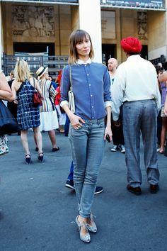 Anya Ziourova in a Celine button-down + grey jeans + semi-lace open toe = femme tomboy