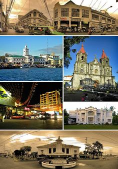 From top, left to right: Calle Real – Iloilo City's historic city center, The Aduana/Customs House of Iloilo and Muelle Loney, Saint Anne Ch. Travel Log, Travel Tours, Philippines, Christian Book Store, General Santos, Iloilo City, Visayas, Mindanao, Tourist Sites