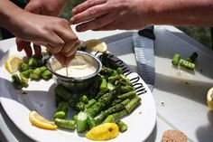 #LocalDishTO This recipe for Grilled asparagus and lemon aioli dip comes from The Fairly Fat Guys (Norfolk County's Local Food Ambassadors). #loveONTfood