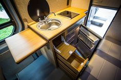 Galley Kitchen Compact. Medium. Large. - Outside Van
