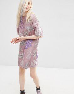 ASOS Embellished Sweat Dress With Raw Hem