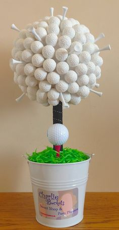 A golf sweet tree for golf loving Dad this Father's Day! You could quite easily make this yourself – get our galvanised metal bucket, plaster of Paris casting plaster, polystyrene / Styrofoam ball, ribbon and wooden craft dowel. Then stick mint sweets onto the sweet tree with cocktail sticks. More DIY inspiration at www.craftmill.co.uk