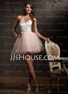 Homecoming Dresses - $129.99 - A-Line/Princess Sweetheart Short/Mini Tulle Homecoming Dress With Beading (022008954) http://jjshouse.com/A-Line-Princess-Sweetheart-Short-Mini-Tulle-Homecoming-Dress-With-Beading-022008954-g8954