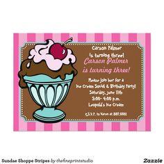#Sundae Shoppe Stripes 5x7 Paper #Invitation Card