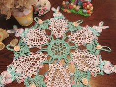 EASTER BUNNYS HAND CROCHET DOILY, BY ME