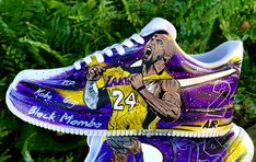 Custom Kobe Bryant You can choose 2 portraits on each shoe). They painting is only on the outer part of the shoe. Everything is hand painted. Kobe Bryant And Wife, Kobe Bryant Shoes, Kobe Shoes, Shiva, Kobe Bryant Pictures, Painted Sneakers, Nike Shoes Air Force, Fresh Shoes, Nike Basketball Shoes