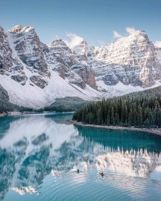 A summer paddle down this lake should be on everyone's bucket list. #getoutdoors #upknorth Still waiting on that spring thaw. Stunning shot by @stevint (at Moraine Lake)