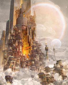 Cidade arranha ceus fantasy places, fantasy world, fantasy artwork, welt, babylon art Fantasy City, Fantasy Castle, Fantasy Places, Fantasy World, Fantasy Art Landscapes, Fantasy Landscape, Landscape Art, Impressionist Landscape, Landscape Design