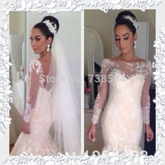 Find More Wedding Dresses Information about Free Shipping Mermaid Long Sleeve Lace Appliqued Low Back Alibaba Wedding Dress,High Quality dress wedding lace,China wedding matter Suppliers, Cheap wedding attendant dresses from 100% Love Wedding Dress & Evening Dress Factory on Aliexpress.com