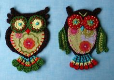 Applique Owl  - Crochet Pattern.via Etsy.