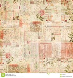 Vintage Paper Ephemera, Text And Flowers Collage Royalty Free Stock Photo - Image: 17529375