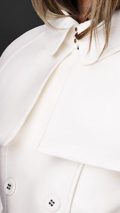 Double Duchess Caped Trench Coat | Burberry - cape/collar detail (front)