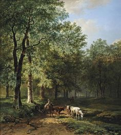 Barend Cornelis Koekkoek (Dutch painter) 1803 - 1862 A Wooded Landscape with Travellers Resting on a Sunlit Path, 1830 oil on canvas 50 x 44.5 cm. signed and dated 'B C Koekkoek. f 1830' (lower left) private collection