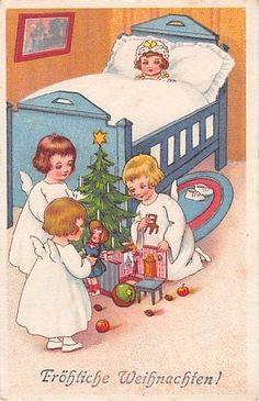 Alte AK col. Künstlerkarte Fritz Baumgarten ? / Fröhliche Weihnachten m. Engel | eBay