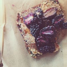 Berries, figs, honey and almond butter toast from Gjelina Take Away in Venice, CA. // Instagram: @Bonnie S. S. Tsang