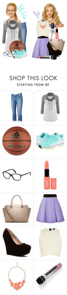 """""""Liv and Maddie"""" by classychic03 ❤ liked on Polyvore featuring Disney, Jennifer Lopez, maurices, adidas, NIKE, Tom Ford, NYX, Michael Kors, FAUSTO PUGLISI and River Island"""