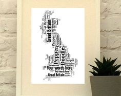 Great Britain Map Personalised Print - Perfect for anyone with Wanderlust, England, Scotland and Wales Country Word Art . Map Wall Art,