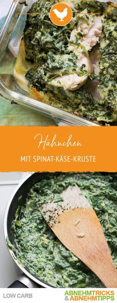Low carb chicken with creamy spinach cheese crust- Low Carb Hähnchen mit cremiger Spinat Käse Kruste Chicken with creamy spinach-cheese dome - Healthy Chicken Recipes, Easy Healthy Recipes, Low Carb Recipes, Creamy Spinach, Spinach And Cheese, Creamy Cheese, Clean Eating Diet, Clean Eating Recipes, Easy Snacks