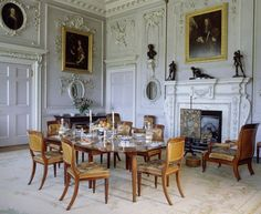A room view of the Dining Room at Felbrigg Hall formed by James Paine in 1752 and has portraits of the Windham family hanging on the walls English Interior, Antique Interior, Classic Interior, Georgian Interiors, Georgian Architecture, Interior Decorating, Interior Design, Manor Houses, Courtyards