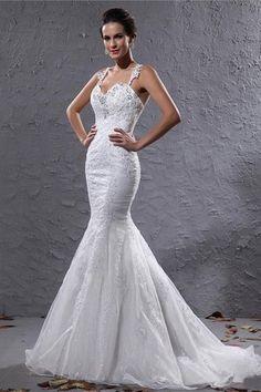 Winter Chapel Train Lace Sequined Mermaid Demure Outdoor Fall Wedding Dress $207.99