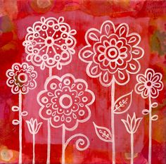 painted flower doodles- I like the white ink on a bright color