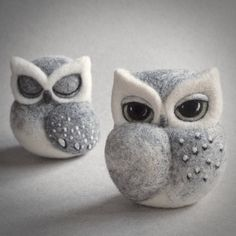 needle felted OWL SCULPTURE sleeping owl grey owl by TheLadyMoth