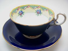 Rare Antique Art Deco 1930's Aynsley Tea Cup and Saucer, English tea set, bone china, Cobalt Blue Tea cup and saucer