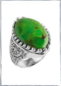 Lime Turquoise Leaf Shaped Ring