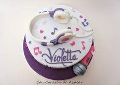 Con Corazón de Azúcar: Tarta y Cupcakes Violetta [paso a paso auriculares y micrófono]