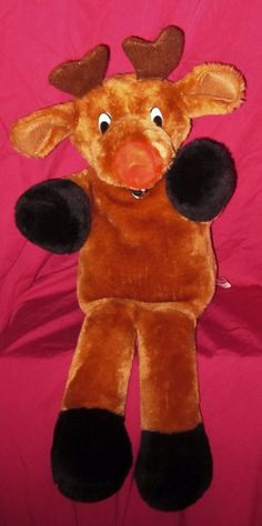 "Vintage 1978 Rudolph The Red Nose Reindeer Full Bodied Hand Puppet 20"" Plush #Anya"