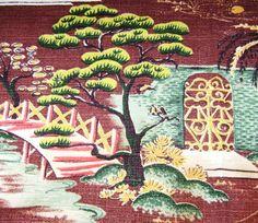 Vintage 1940's Asian-influenced barkcloth