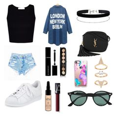 """""""Untitled #18"""" by princesabaixinha ❤ liked on Polyvore featuring Miss Selfridge, adidas, Givenchy, Marc Jacobs, INIKA, NARS Cosmetics, Yves Saint Laurent, Casetify, Ray-Ban and men's fashion"""