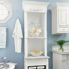 Bathroom inspiration - freestanding storage. Found: http://www.thisoldhouse.com/toh/photos/0,,20425829_20847269,00.html