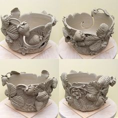 Strawberries yarn bowl. Thrown and modelled from white earthenware. Unfired. I can't wait to put the colours on this little fruity in a couple of weeks once it has been biscuit fired. earthwoolfire.etsy.com