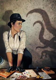This is an H P Lovecraft art. The female investigator playing the call of Cthulhu. Mysteries were popular in this time period. Lovecraft created a bunch of Cthulhu stories in the Hp Lovecraft, Lovecraft Cthulhu, Cthulhu Art, Call Of Cthulhu Rpg, Psychobilly, Detective, Character Art, Character Design, Lovecraftian Horror