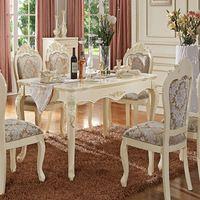 Americanos Lotus retangular branca mesa de jantar combinação pequena sala de jantar pastoral madeira esculpida mesa de jantar