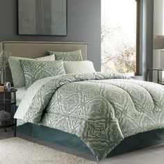 Hawthorne Complete Bed Ensemble. If you want something with more color this is gorgeous because all of the colors are shaded with grey. Would look great with that aspen light paint color you liked in my magazine.