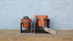 Set of 2 Mod Block Planters - Square Steel Metal Planter w/ Pot - Indoor Outdoor Succulent Garden - Great Mother's Day Gift