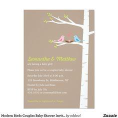 Modern Birds Couples Baby Shower Invitation Girl