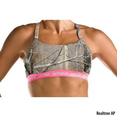 under armor camo sports bra. love the pink